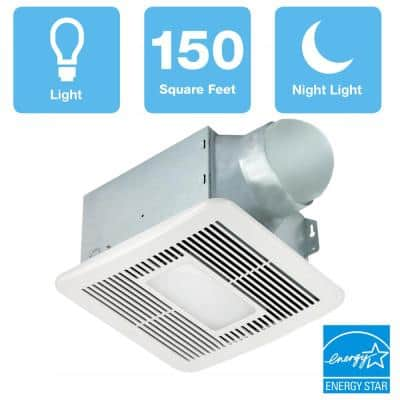 Smart Series 150 CFM Ceiling Bathroom Exhaust Fan with LED Light and Night Light, ENERGY STAR