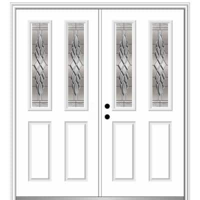 64 in. x 80 in. Grace Right-Hand Inswing 2-Lite 2-Panel Decorative Primed Steel Prehung Front Door on 4-9/16 in. Frame