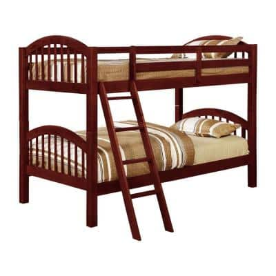 Beth Cherry Wood Twin over Twin Country Style Convertible Bunk Bed
