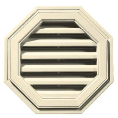 18 in. x 18 in. Octagon Beige/Bisque Plastic Built-in Screen Gable Louver Vent