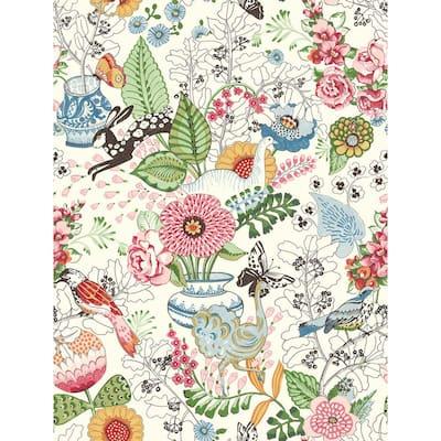Whimsy Multicolor Fauna Multicolor Wallpaper Sample