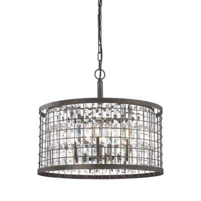 Nadina 6-Light Silverdust Iron Chandelier With Metal And Crystal Shade