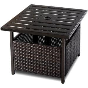 Brown Wicker Outdoor Side Table with Umbrella Hole