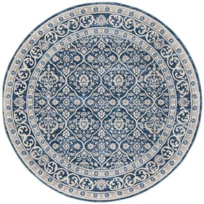 Brentwood Navy/Light Gray 3 ft. x 3 ft. Round Floral Border Geometric Area Rug