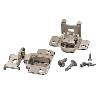 Satin Nickel 1/4 in. Overlay Concealed Cabinet Hinge (2-Pack)