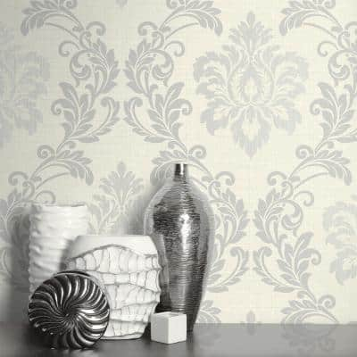 Adela Ivory Twill Damask Vinyl Strippable Wallpaper (Covers 60.8 sq. ft.)