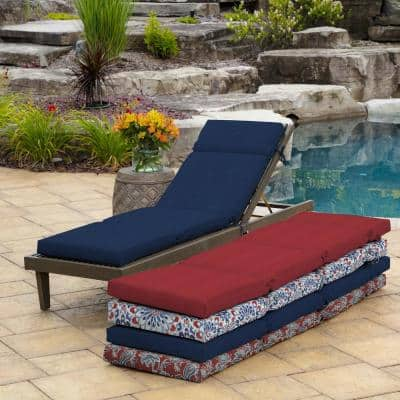 21 in. x 29.5 in. Outdoor Chaise Lounge Cushion in Sapphire Leala Texture