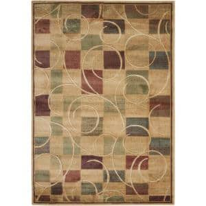 Expressions Beige 5 ft. x 7 ft. Geometric Contemporary Area Rug