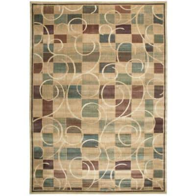 Expressions Beige 10 ft. x 13 ft. Geometric Contemporary Area Rug