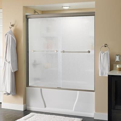 Lyndall 60 in. x 58-1/8 in. Semi-Frameless Traditional Sliding Bathtub Door in Nickel with Rain Glass