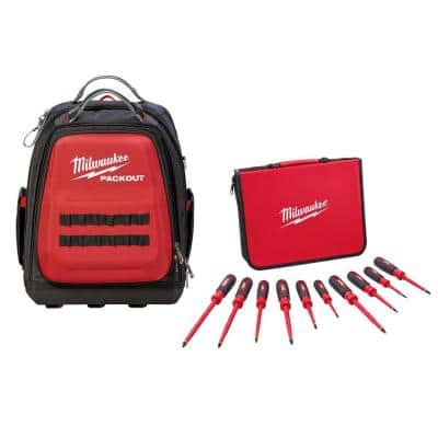 10-Piece 1000-Volt Insulated Screwdriver Set and Case with PACKOUT Backpack