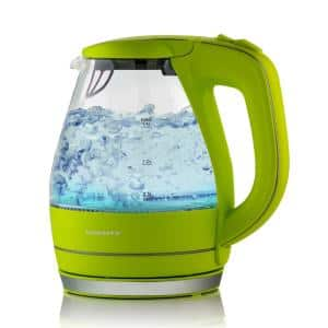 Illuminated 6.5-Cup Green Electric Kettle with Filter, Fast Heating and Auto-Shut Off