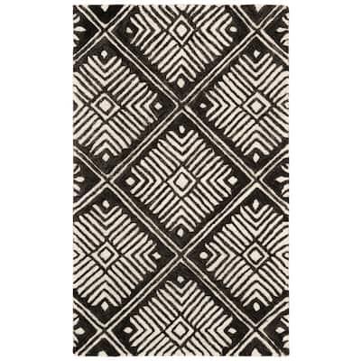 Cambridge Ivory/Charcoal 3 ft. x 5 ft. Geometric Area Rug