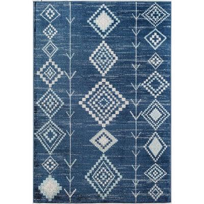 Soleil Native Blues 8 ft. x 12 ft. Tribal Moroccan Area Rug
