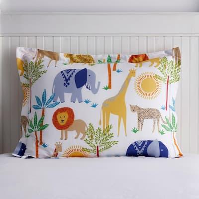 Jungle Animals Multicolored 200-Thread Count Organic Cotton Percale Standard Sham