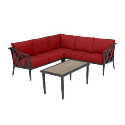 Harmony Hill 3-Piece Black Steel Outdoor Patio Sectional Sofa with CushionGuard Chili Red Cushions