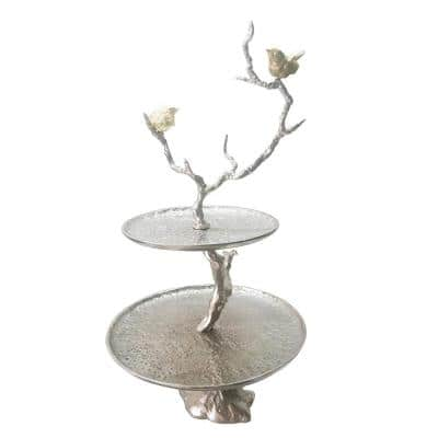 Impressively Designed Silver Iron Branch 2 Tiered Tray