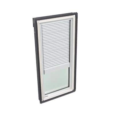 14-1/2 in. x 45-3/4 in. Fixed Deck Mount Skylight with Laminated Low-E3 Glass and White Manual Room Darkening Blind