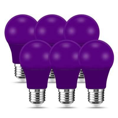 60-Watt Equivalent 9-Watt A19 E26 Base Non-Dimmable LED Light Bulb in Purple (6-Pack)