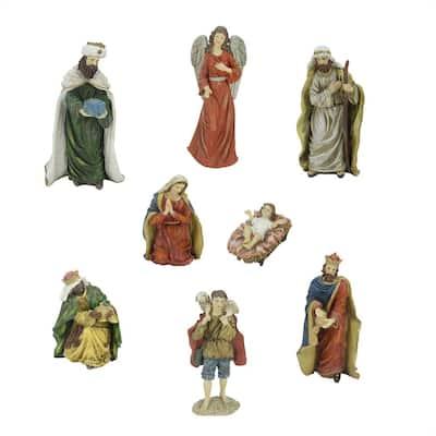 12.25 in. Jewel Tone Inspirational Religious Christmas Nativity Figure Set (8-Piece)