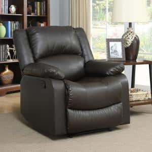 Preston 36 in. Width Big and Tall Java Faux Leather 1 Position Recliner