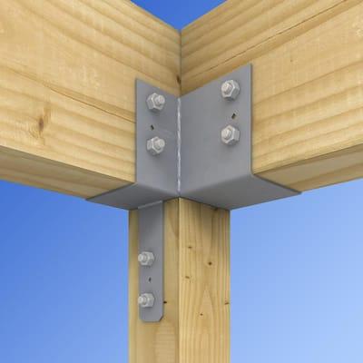 ECCLR L-Shape End Column Cap for 6x Post, 6x Beams, Skewed Right