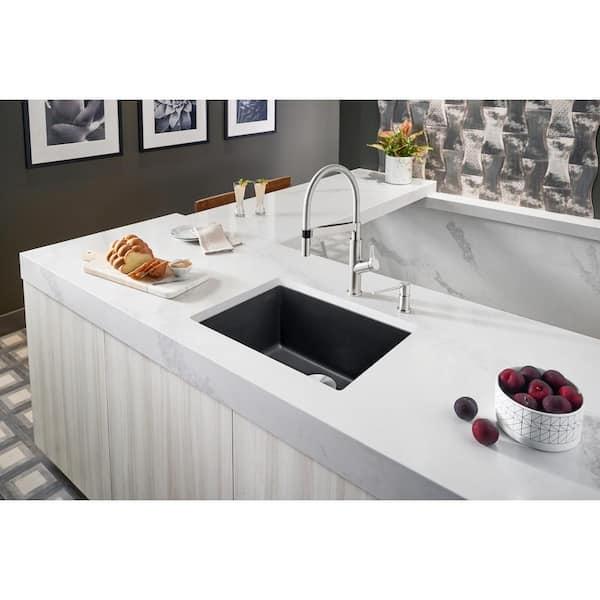 https www homedepot com p blanco precis undermount granite composite 27 in single bowl kitchen sink in anthracite 522259 301627394