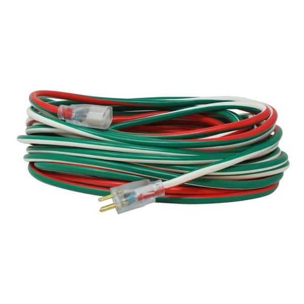 Southwire 80 Ft 12 3 Sjtw Outdoor Heavy Duty Extension Cord With Power Light Plug Red White Green 64825502 The Home Depot