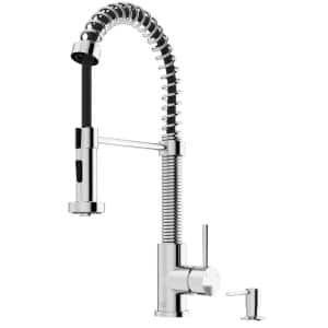 Edison Single-Handle Pull-Down Sprayer Kitchen Faucet with Bolton Soap Dispenser in Chrome