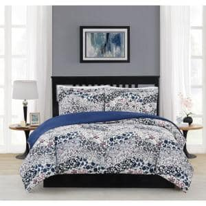 Chelsea 3-Piece Blue Multi Polyester Full/Queen Comforter Set