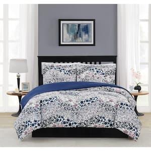 Chelsea 3-Piece Blue Multi Polyester King Comforter Set