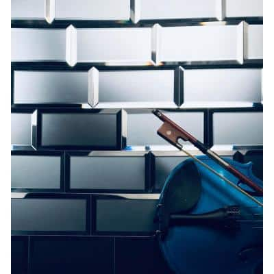 Reflections Graphite Blue Beveled Subway 3 in. x 6 in. Matte Glass Mirror Wall Tile (14 Sq. Ft../Case)