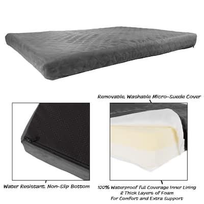 Jumbo Gray Waterproof Memory Foam Pet Bed