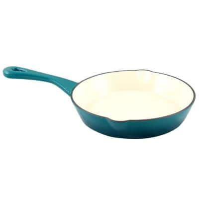 Artisan 10 in. Cast Iron Nonstick Skillet in Teal Ombre with Pour Spout