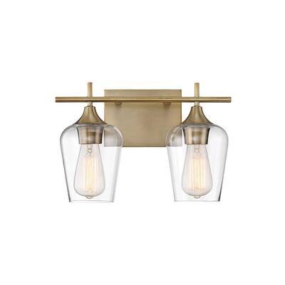 2-Light Warm Brass Bath Light
