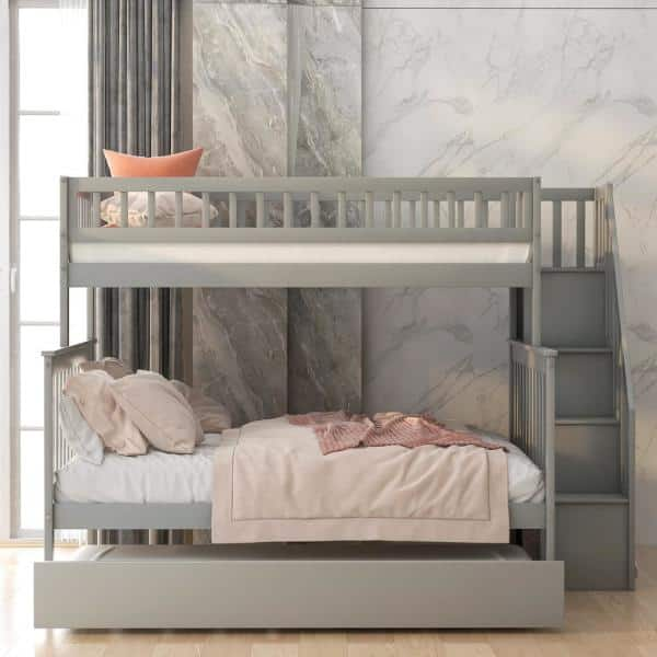 Harper Bright Designs Gray Twin Over Full Bunk Bed With Trundle And Stairs For Kids Sm000095aae 1 The Home Depot