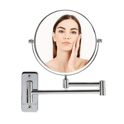 Small Round Wall Mounted Polished Chrome Makeup Mirror (11 in. H x 1.4 in. W), 1x-10x Magnification
