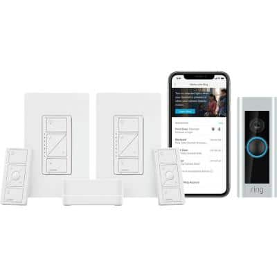 Caseta Wireless Smart Lighting Dimmer Switch (2-Count) Starter Kit with Ring 1080p HD Video Wired Smart Doorbell Camera