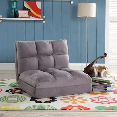 Microsuede Grey Flip Floor Chair Convertible Lounger/Sleeper