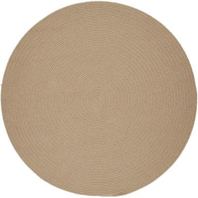 Joy Braids Solid Sand Beige 4 ft. x 4 ft. Round Indoor/Outdoor Braided Area Rug
