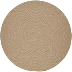 Joy Braids Solid Sand Beige 8 ft. x 8 ft. Round Indoor/Outdoor Braided Area Rug