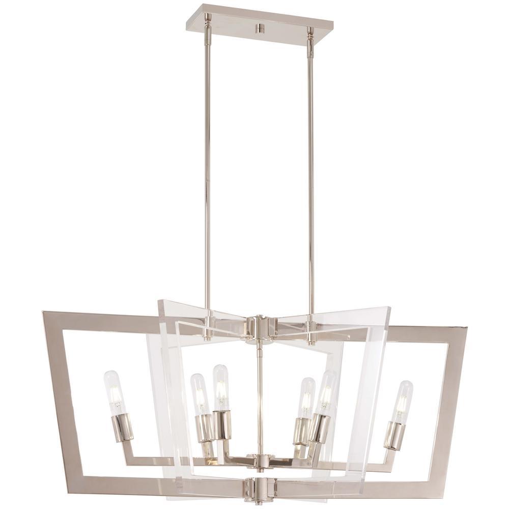 Crystal Chrome 6-Light Polished Nickel Billiard Light