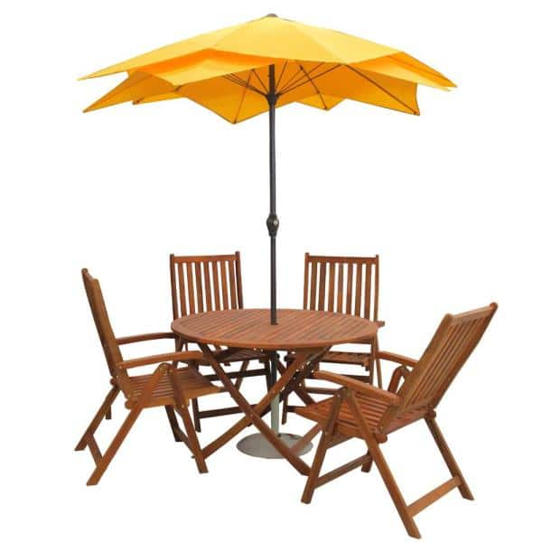 Northlight 32756495 47 Round Outdoor Acacia Wood Folding Patio Dining Table Brown
