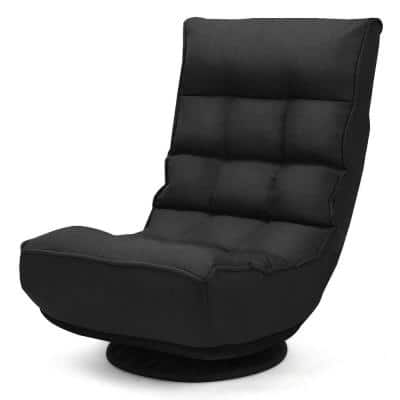 1-Seat 4-Position 360 Degree Swivel Adjustable Game Chair Lazy Sofa in Black
