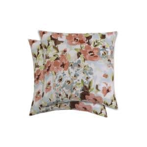18 in. Abigail Russet Square Outdoor Throw Pillow (2-Pack)