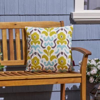 Yellow Flower Cream, Yellow, Light Blue and Grey Square Outdoor Throw Pillow
