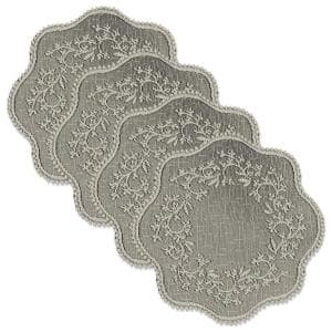 Sheer Divine 12 in. Flax Round Lace Polyester Doily (Set of 4)