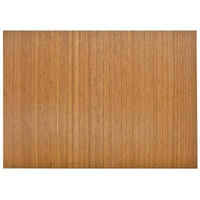 Standard Natural Light Brown 48 in. x 72 in. Bamboo Roll-Up Office Chair Mat without Lip