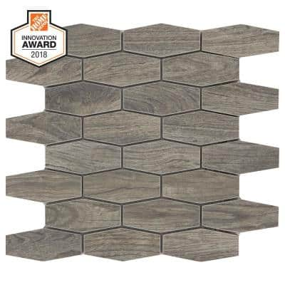 Shadow Wood Linear Hexagon 12 in. x 13-1/2 in. x 8 mm Glazed Porcelain Mosaic Floor and Wall Tile (0.97 sq. ft./Each)