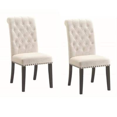 Parkins Button Tufting Cream and Rustic Espresso Upholstered Dining Side Chairs (Set of 2)